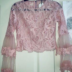 Sheer Pink Floral Flowers Long Sleeve Crop Shirt